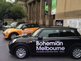 Minis outside State Library of Victoria